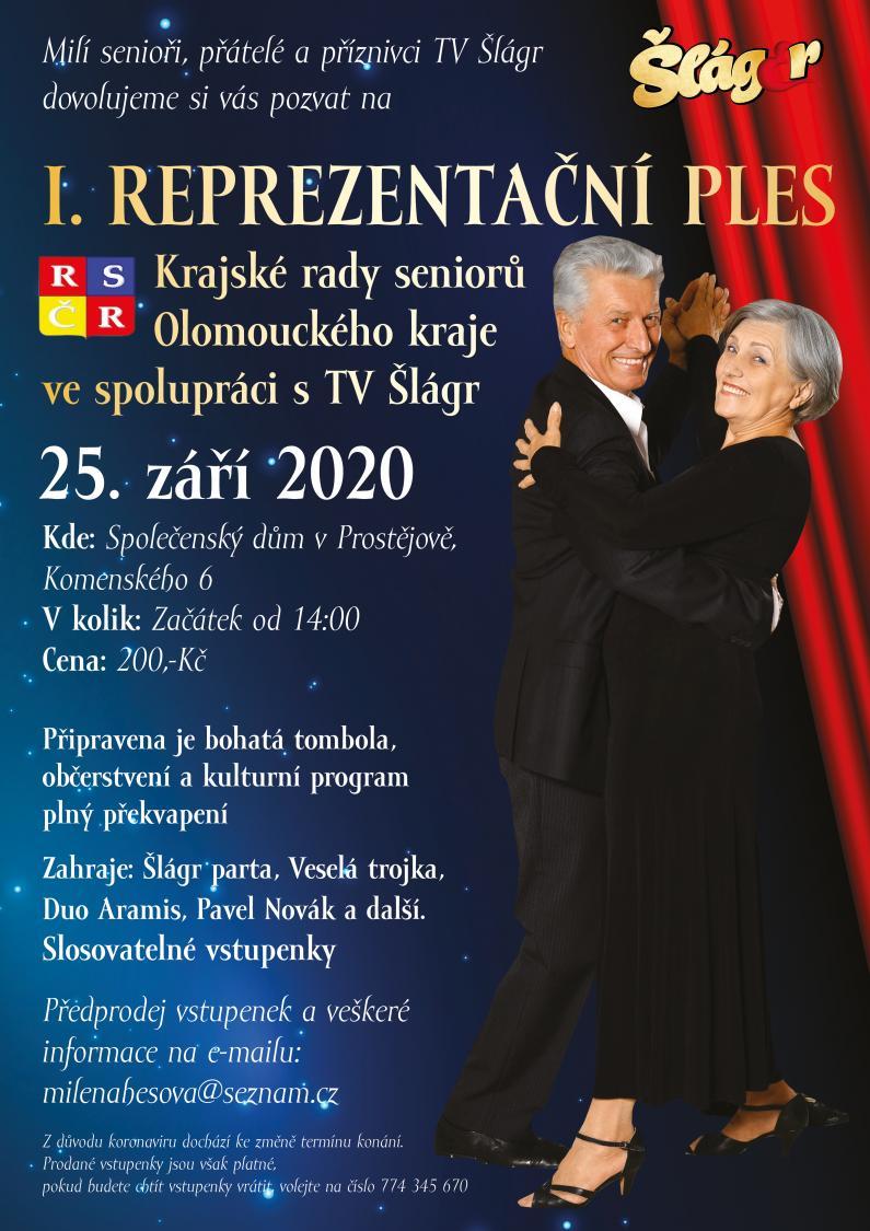 1.Reprezentační ples Krajské rady seniorů Olomouckého kraje ve spolupráci s TV Šlágr - 25. 9. 2020 od 14.00