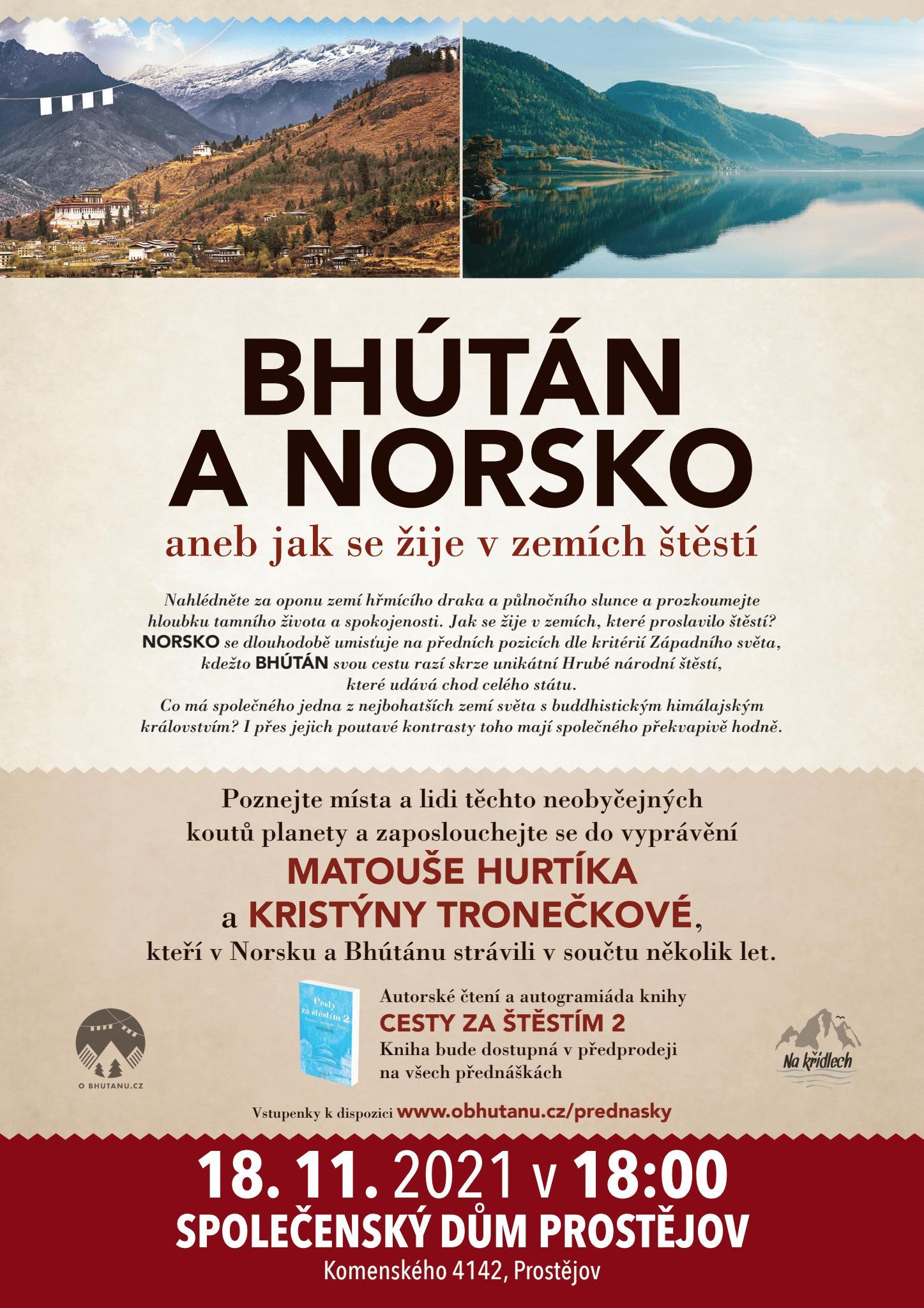 Bhútán a Norsko - 18. 11. 2021 v 18.00